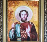 """Іменна ікона із бурштину """"Святий Максим""""  15 х 20 см без скла"""