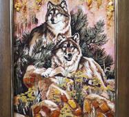 "Картина из янтаря ""Пара волков"" 30х40 см"