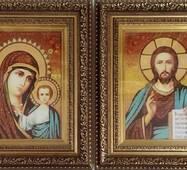 """Вінчальна ікона з бурштину """"Казанська пара"""" 15х20 см в склі"""
