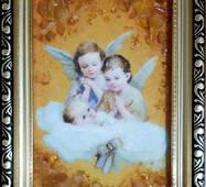 "Икона из янтаря для ребенка ""Ангелята"" 10х15 см без стекла"