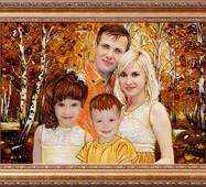 Портреты семьи (4 человека) из янтаря