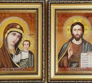 Свадебные иконы из янтаря 18х25 см в стекла