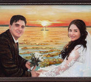 Свадебный портрет из янтаря на природе