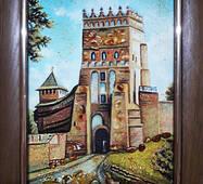 "Картина из янтаря ""Виды Луцка. Замок Любарта"" 15х20 см"
