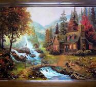 """Картина із бурштину """"Будиночок біля річки"""" 60х80 см"""