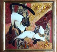 """Картина из янтаря """"Кошки"""" 30х30 см"""