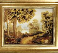 """Янтарная картина """"Осенний лес"""" 20х30 см"""