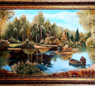 """Картина з бурштину """"Човники"""" 40х80 см"""