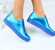 Женски синие кожаные кеды 40
