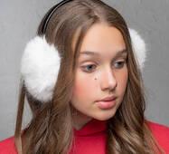 Меховые наушники  Уши белый  (FL1347)