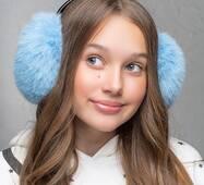 Меховые наушники  Уши голубой  (FL1352)