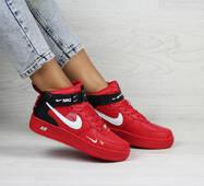 Женские кроссовки красные Nike Air Force 1 8198