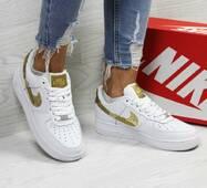 Женские кроссовки белые с золотистым Nike Air Force 1 CR7 6428
