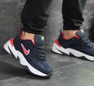 Мужские кроссовки темно синие с белым Nike M2K Tekno 7528