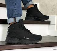 Мужские зимние кроссовки черные Nike Air Huarache 8621