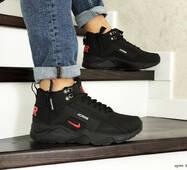 Мужские зимние кроссовки черные с красным Nike Air Huarache 8539