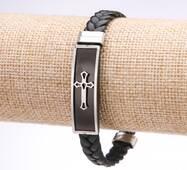 Браслет мужской Крест эко кожа косичка стальная планка