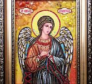 """Икона из янтаря """"Ангел Хранитель"""" 15х20 см без стекла"""