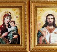 """Венчальные иконы из янтаря """"Иверская пара"""" 18 х 25 в стекле"""