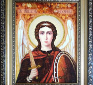 Икона Архангела Михаила из янтаря 15 х 20 см без стекла