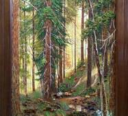 """Картина из янтаря """"Лес"""" 30x60 см"""