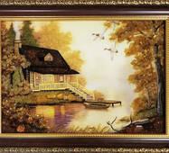 """Картина из янтаря """"Домик и лодка"""" 20х30 см"""