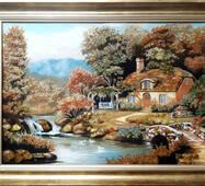 """Картина из янтаря """"Каменный мостик"""" 40х60 см"""