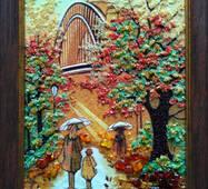 """Картина из янтаря """"Девушка с зонтиком"""" 30х40 см"""