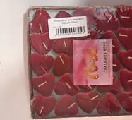 Свечи восковые плавающие в виде сердечек красного цвета(50 шт.)