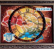 Карта Украины з часами  из янтаря 30х40 см
