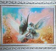 """Картина с янтаря """"Голуби"""" 30х40 см"""
