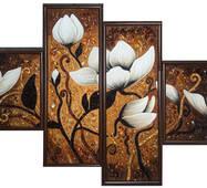 "Модульная картина из янтаря ""Магнолия"" (4 части) 125х70 см"