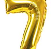 Фольгированная цифра семь 80 см золотого цвета