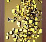 3D двери Золотистые кубики 9256, 90х200 см