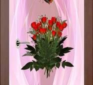 3D двери Букет роз на светло-розовом фоне 9239, 80х200 см
