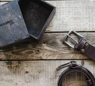 Кожаный ремень чёрный, 125 см