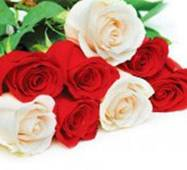 """Пакет для подарунка гігант горизонтальний """"Білі і червоні троянди"""" 47х30 см   (6 шт/уп)"""