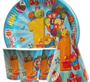 """Набір для дитячого дня народження """" Перший рік блакитної """" Тарілки - 10 шт Скляночки - 10 шт Ковпачки - 10 шт"""