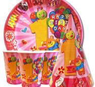 """Набір для дитячого дня народження """" Перший рік рожевий """" Тарілки - 10 шт Скляночки - 10 шт Ковпачки - 10 шт"""
