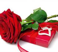 """Пакет для подарунка гігант горизонтальний """"Роза з подарунком"""" 46 х 33 см   (6 шт/уп)"""