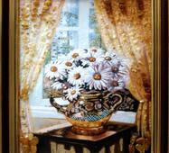 """Картина из янтаря """"Натюрморт ромашки"""" 30х40 см"""