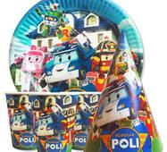 """Набір для дитячого дня народження """" Робокар Поли """" Тарілки - 10 шт Скляночки - 10 шт Ковпачки - 10 шт"""