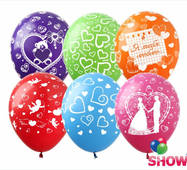 """Воздушные шарики Любовь и свадьба микс 12"""" (30 см)  ТМ Show"""