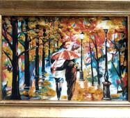 """Картина из янтаря """"Пара в парке"""" 20х30 см"""