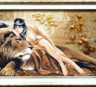 """Картина из янтаря """"Клеопатра"""" 30х60 см"""
