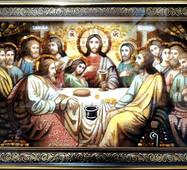 """Икона из янтаря """"Тайная вечеря"""" 60х40 см в стекле (рама киот)"""