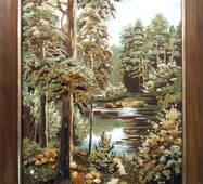"""Картина из янтаря """"Лесная тишина"""" 40x60 см"""