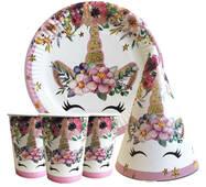 """Набір для дитячого дня народження """" Одноріг квіти """" Тарілки - 10 шт Скляночки - 10 шт Ковпачки - 10 шт"""