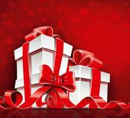 """Пакет для подарунка гігант горизонтальний """"Подарунки на червоному фоні"""" 47х30 см   (6 шт/уп)"""
