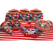 """Набір для дитячого дня народження """" Пірати """" Тарілки - 10 шт Скляночки - 10 шт Ковпачки - 10 шт Скатерть- 1 шт"""